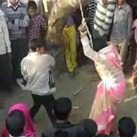 Woman publicly flogged by husband on panchayat's orders for eloping