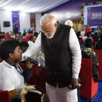 PM Modi interacts with the beneficiaries of Ayushman Bharat at Ranchi